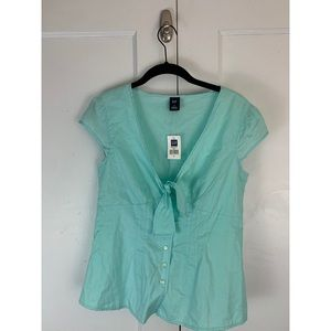 GAP Mint Cotton Button Up Pin Up Top Sz Small